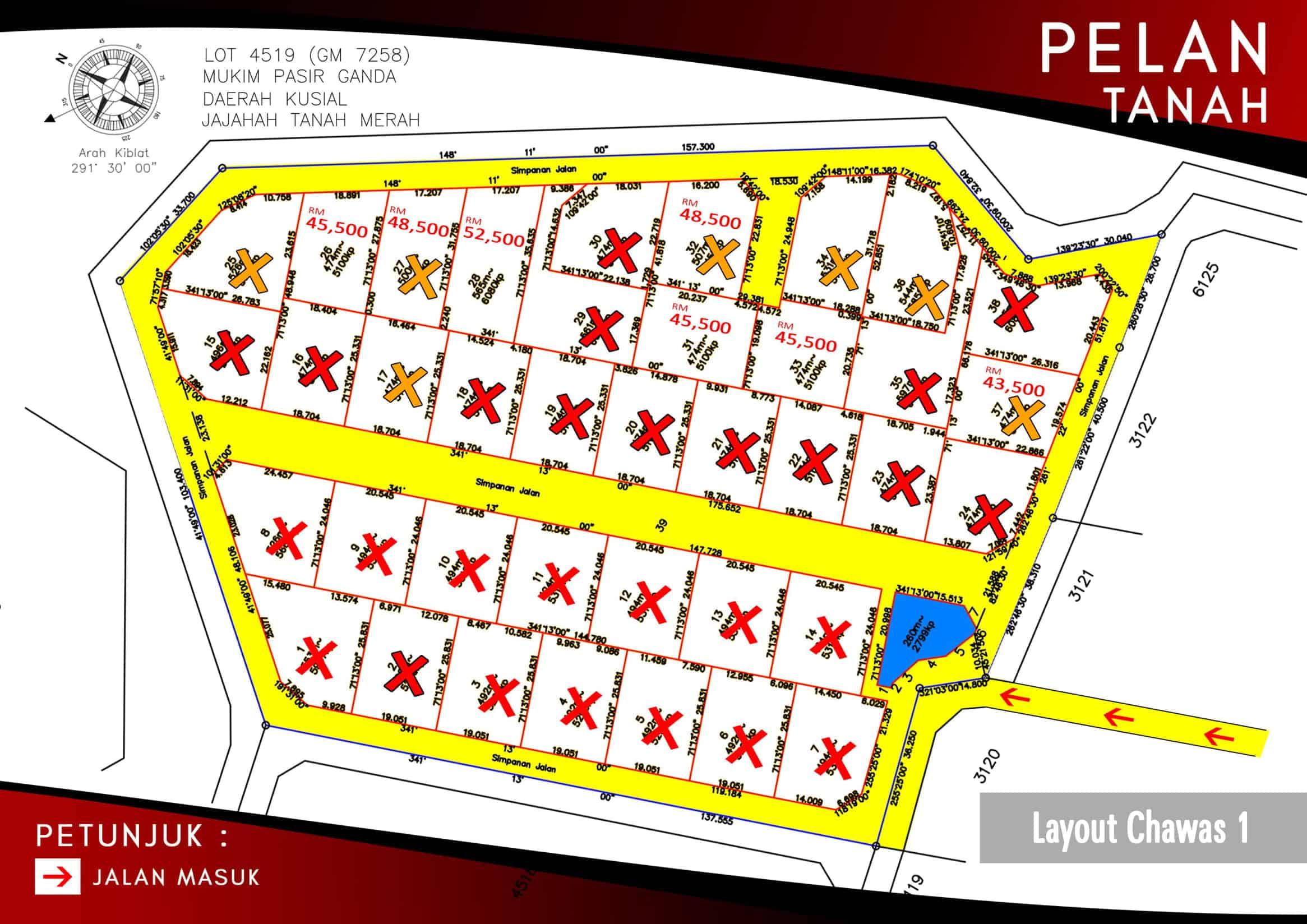 Pelan Tanah di Chawas 1A Tanah Merah Kelantan